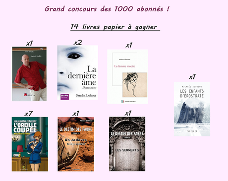 Grand concours 1000 abonnés Facebook ! 14 livres papier à gagner !