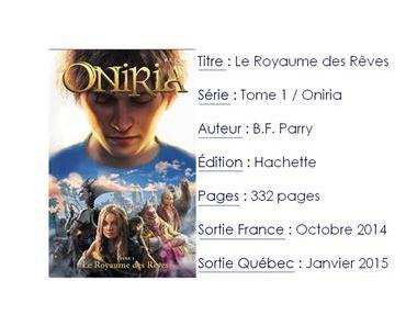Oniria #1 Le royaume des Rêves de B.F. Parry