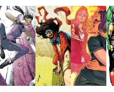 Hawkeye #11, Ms. Marvel #23, Runaways #2, Champions #13
